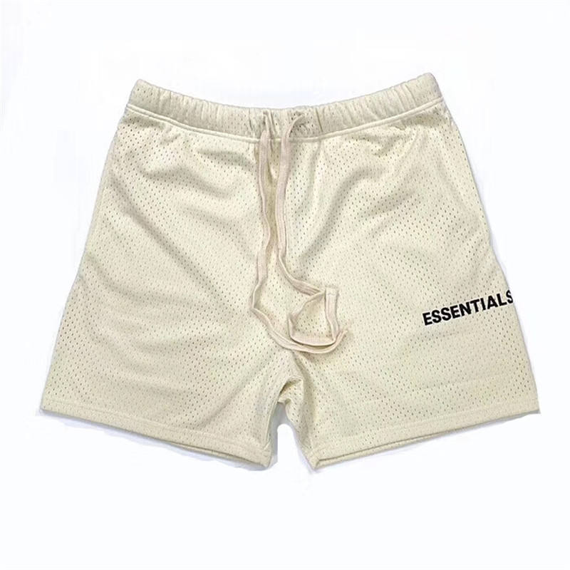 men's sports Mesh shorts Essentials Fear Of God Shorts Hip Hop Streetwear FOG Men Casual Shorts High Street Clothing white