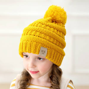 Q594 1 - 8 Years Old Kids Cute Slouchy Beanie with 13CM Large Faux Fur Pom Pom Thick Soft Warm Skull Ski Cap Winter Hats