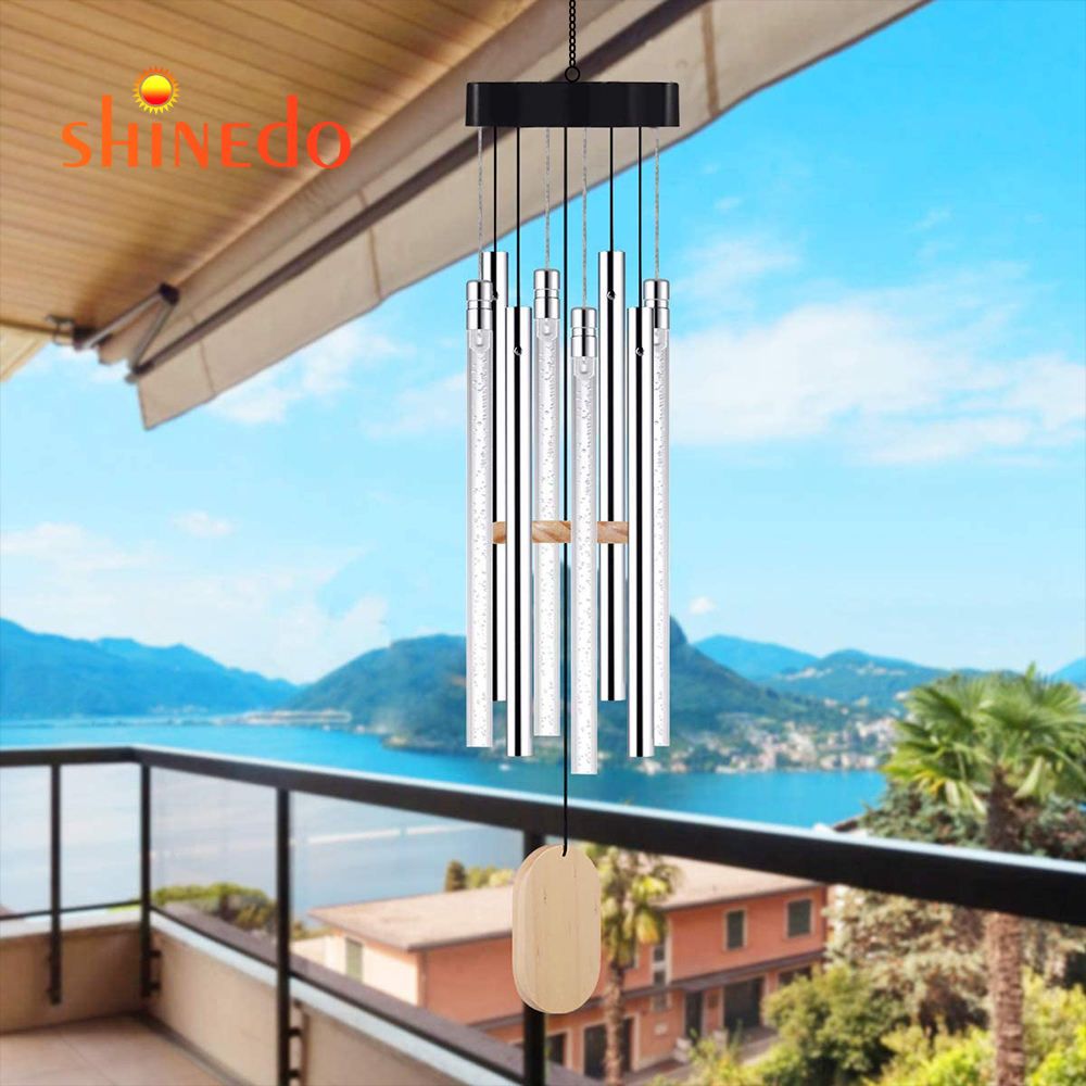 Wind Chime Lights Solar Energy Powered Copper Wire Hanging Bulb Lamps Courtyard Garden Decorative Ornaments