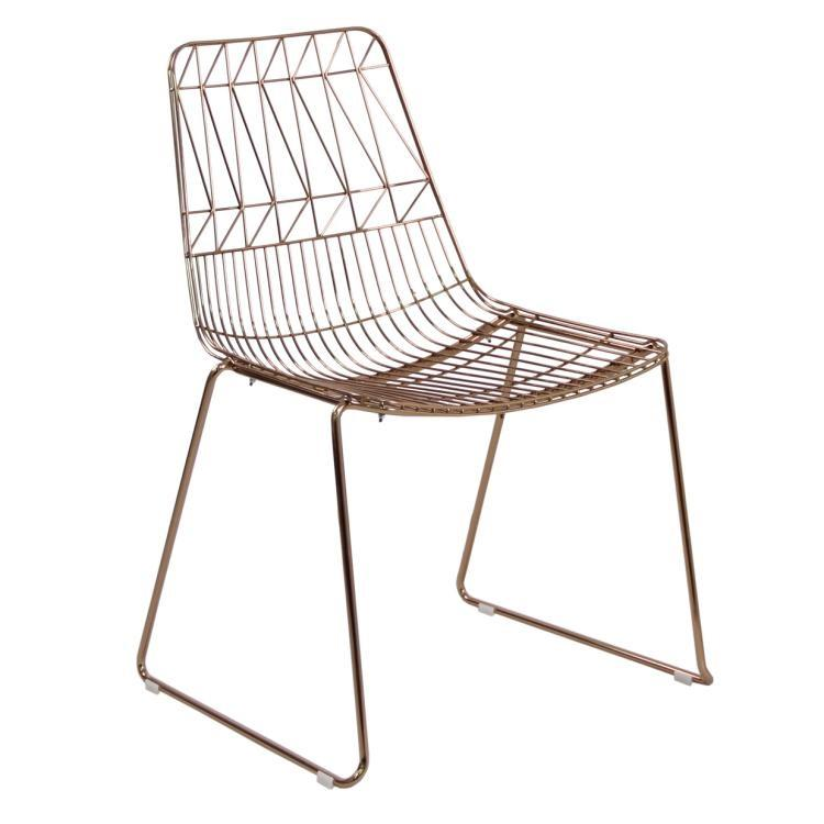 Outdoor Metal Modern Wire Bertoia Rose Gold Wire Chair Iron Frame Stackable Leisure Dining Gold Chair