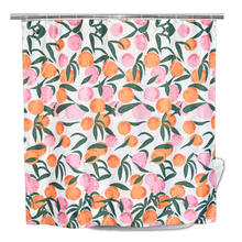 European Style Cute Bright Colorful Peach Waterproof Decoration Fruit Shower Curtain