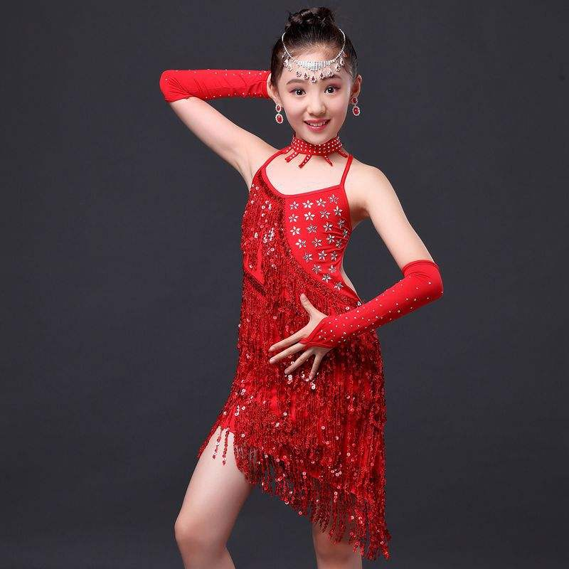 Bestdance Girls Latin Dance Dress Tassel Dancewear Kids Salsa Ballroom Performance Costume