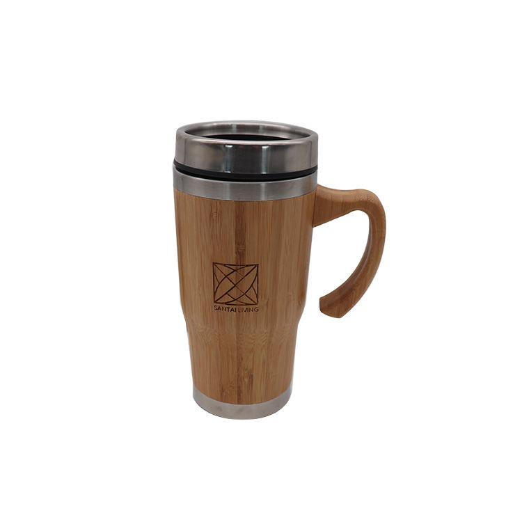 420ML/14OZ Bamboo Material Stainless Steel Bamboo Coffee Mug With Bamboo Handle
