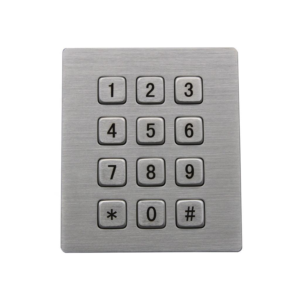China high quality Rugged Stainless Steel 12 Keys Access Control Metal Keypad For Sale
