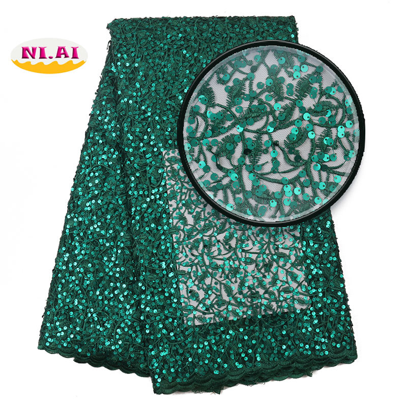 2020 New Design African Nigerian French Emerald Green Wedding Full Sequence Embroidery Elegant Sequin Lace Fabric from China