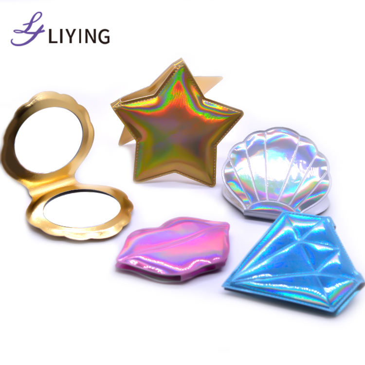 2020 new holographic makeup mirror bling portable mini pocket mirror hand mirror pocket