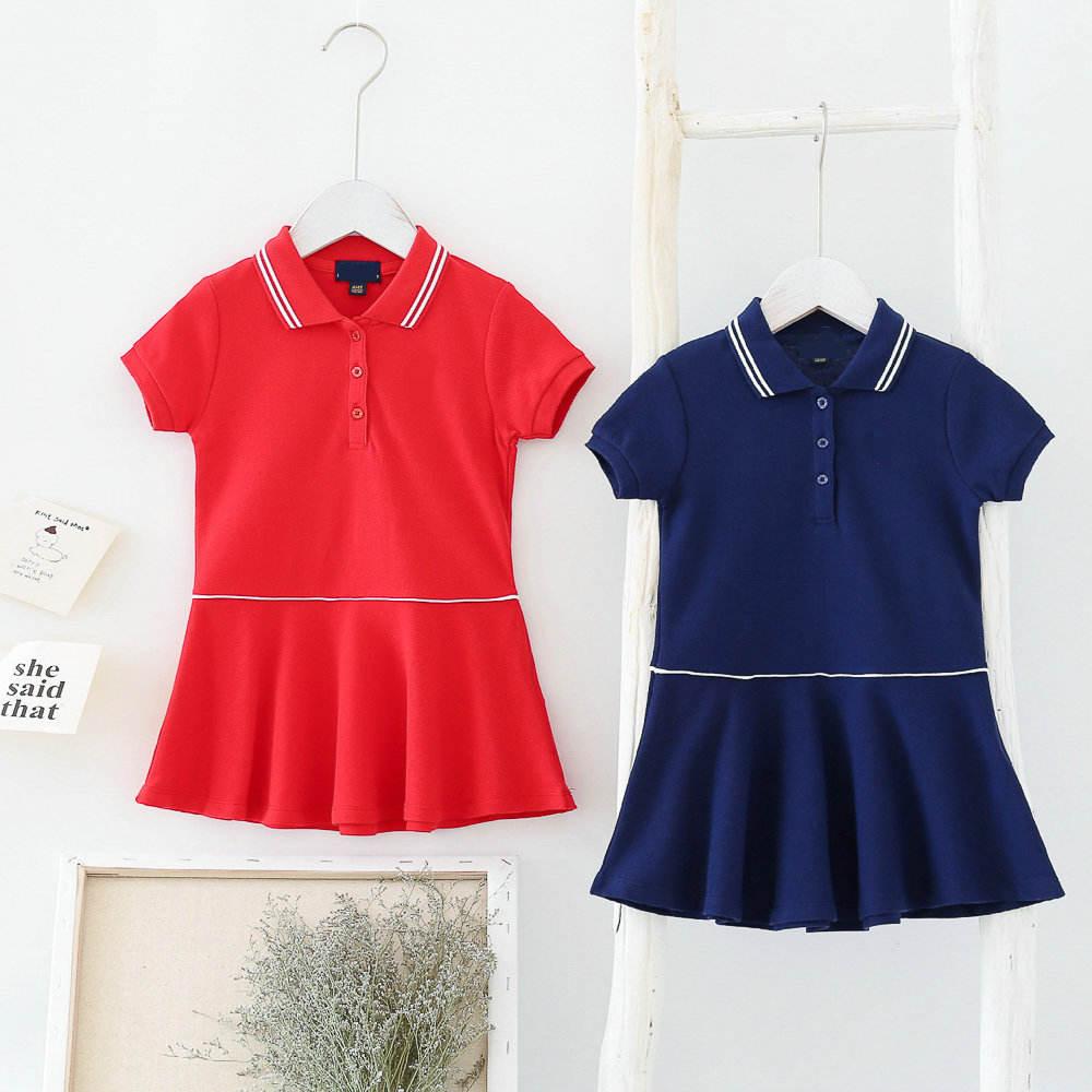 OEM y venta al por mayor vestido de Niños de tela de algodón o-Cuello de manga corta vestido de niña