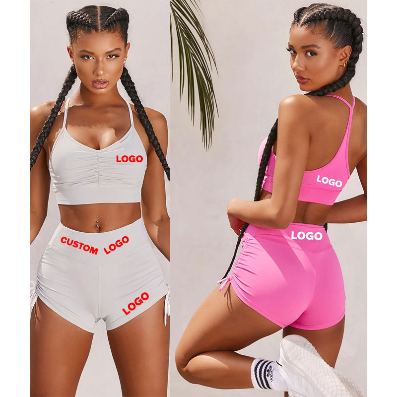 Free Shipping Custom Private Label Two Piece Short Sexy Sports Gym Yoga Fitness Wear For Women Crop Tops With Shorts