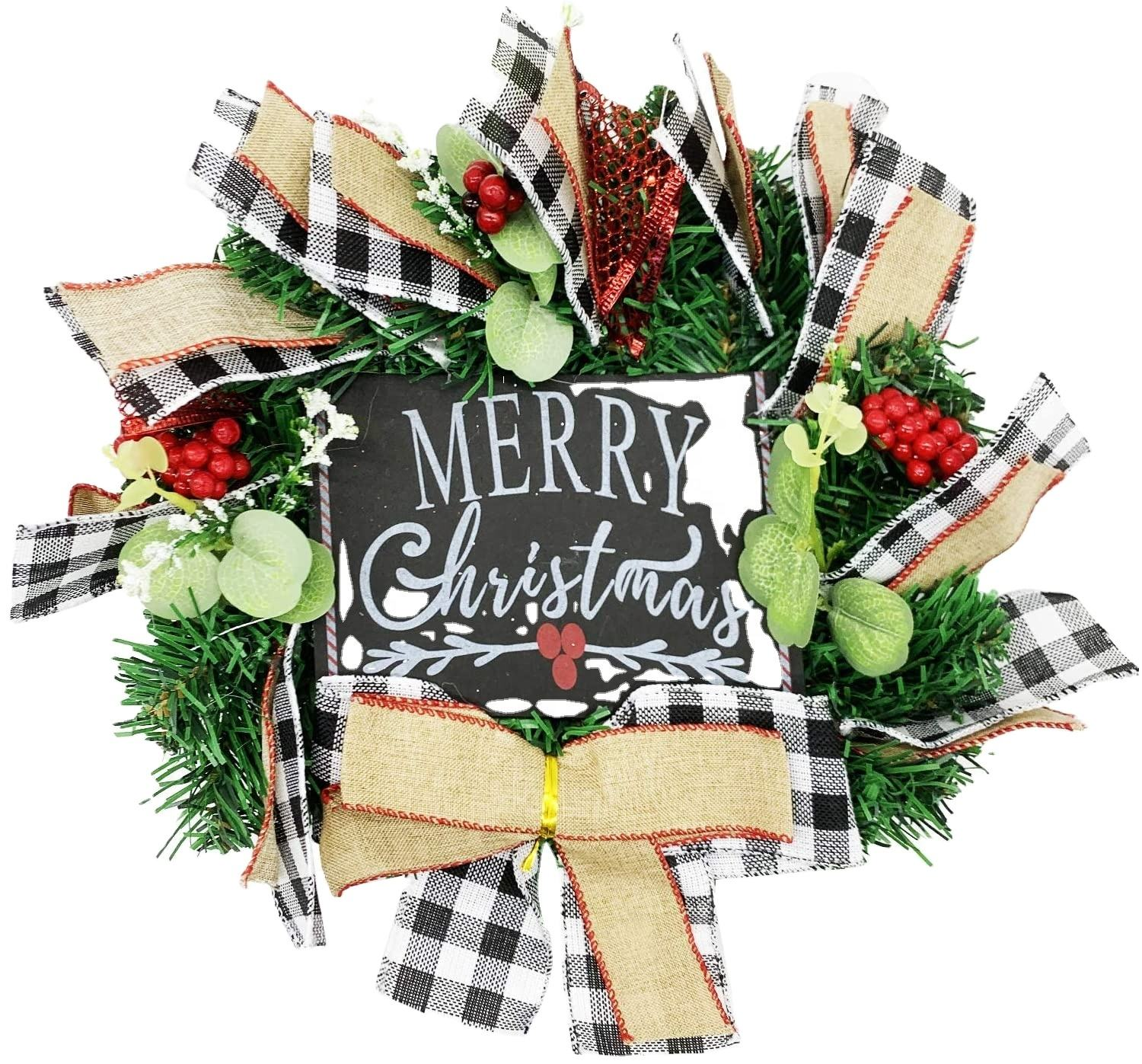 "Christmas Buffalo Check Wreath-9.8""x9.8""x2.7 Inch Classic Plaid and Red Truck Christmas Wreath Window Wall Wreath Home Office"