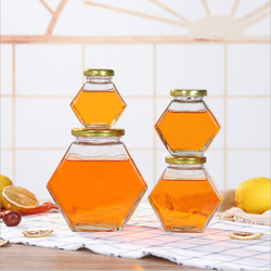 Jam bee honey packaging 390ml 500g hexagonal glass honey jar food use glass storage bottle&jars with wood lid and stick