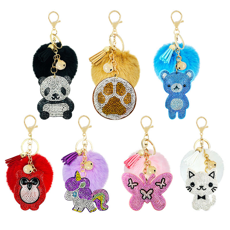 31-color creative gift water drill with hair ball key clasp unicorn butterfly baby bear cartoon animal accessories Korean