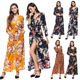 Guangzhou Multi-Colored Autumn Winter High Split V Neck Floral Printed Long Sleeves Women Maxi Casual Dress