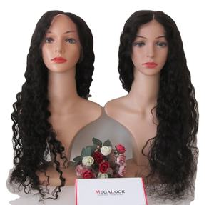 Megalook Discounts 30 Inch Bleached Knots Pre Pluck Asian Women 4*4 Closure Wig Virgin Water Wave Chinese Hair Swiss Lace Wigs