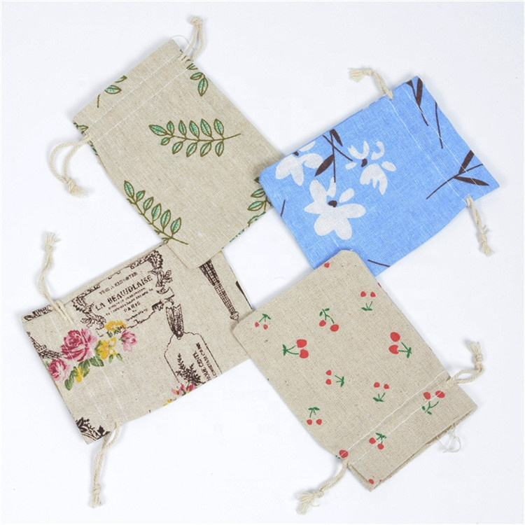 Printing Linen Pocket Drive Midg Gift Bags Sweet Bursa Sachets of Chinese Herbal Medicine Bag Cotton Linen Cloth Bags