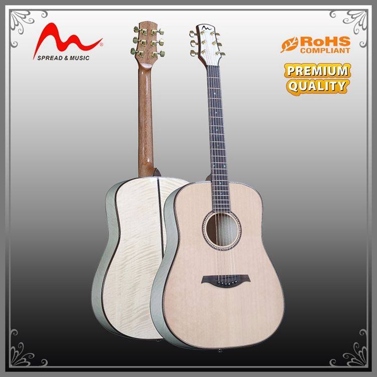 high end 41 inch acoustic guitar Solid spruce with Wholesale price Hi-gloss guitar