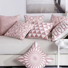 High Quality Pink Throw Pillowcases For Office Chair Decorative Cotton Pillow Cover Case