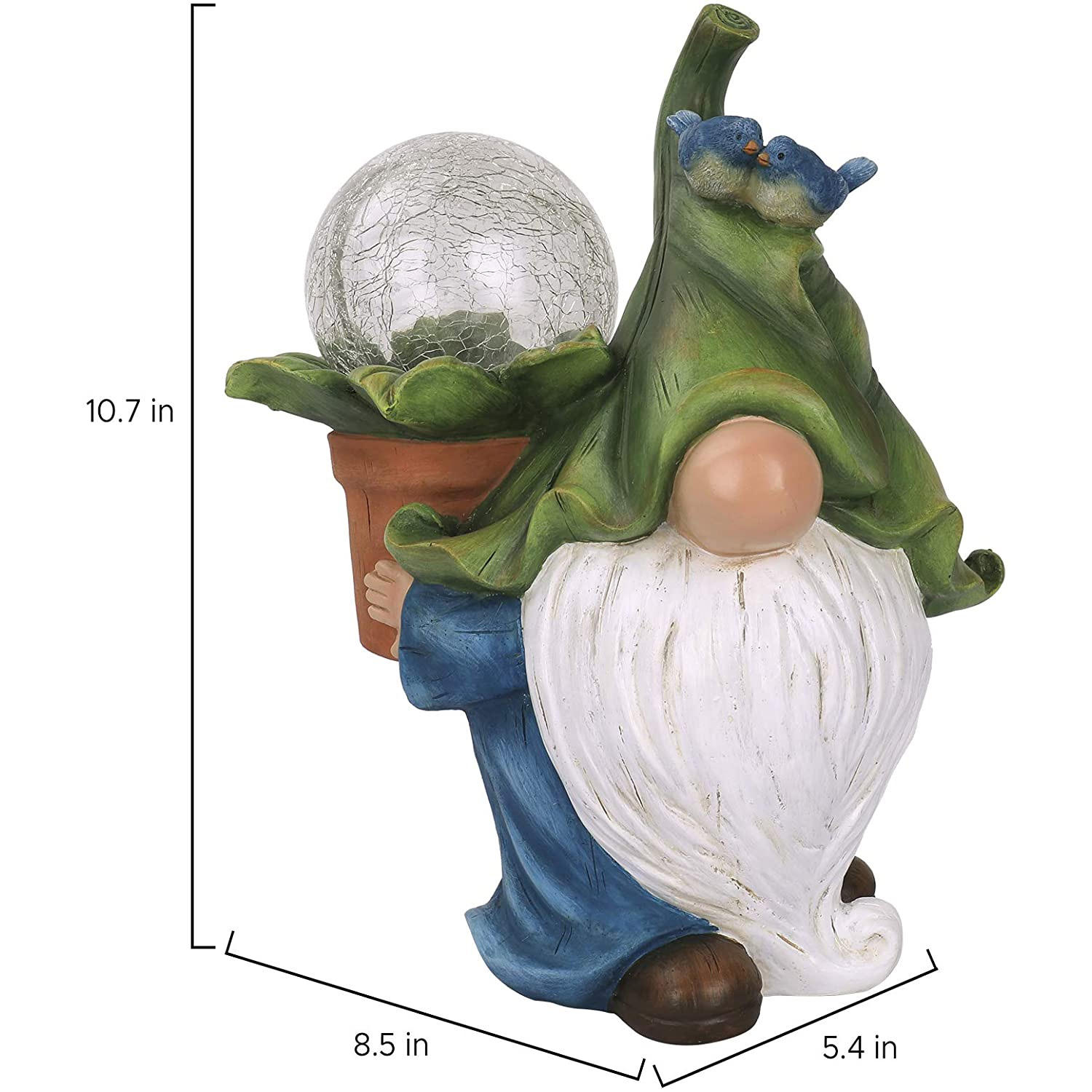 Garden Gnome Statue Ornament- Resin Gnome Figurine With Solar LED Lights Outdoor Christmas Decorations For Patio Yard Lawn
