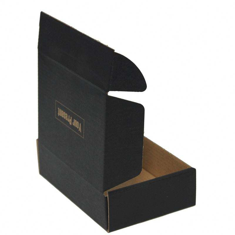 Black Cardboard Paper Mailer Box Carton Packaging E Flute Corrugated Box