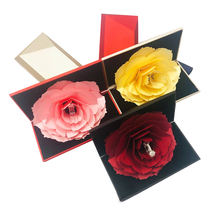 High quality hot fashion luxury plastic wedding proposal jewelry gift ring box with flower