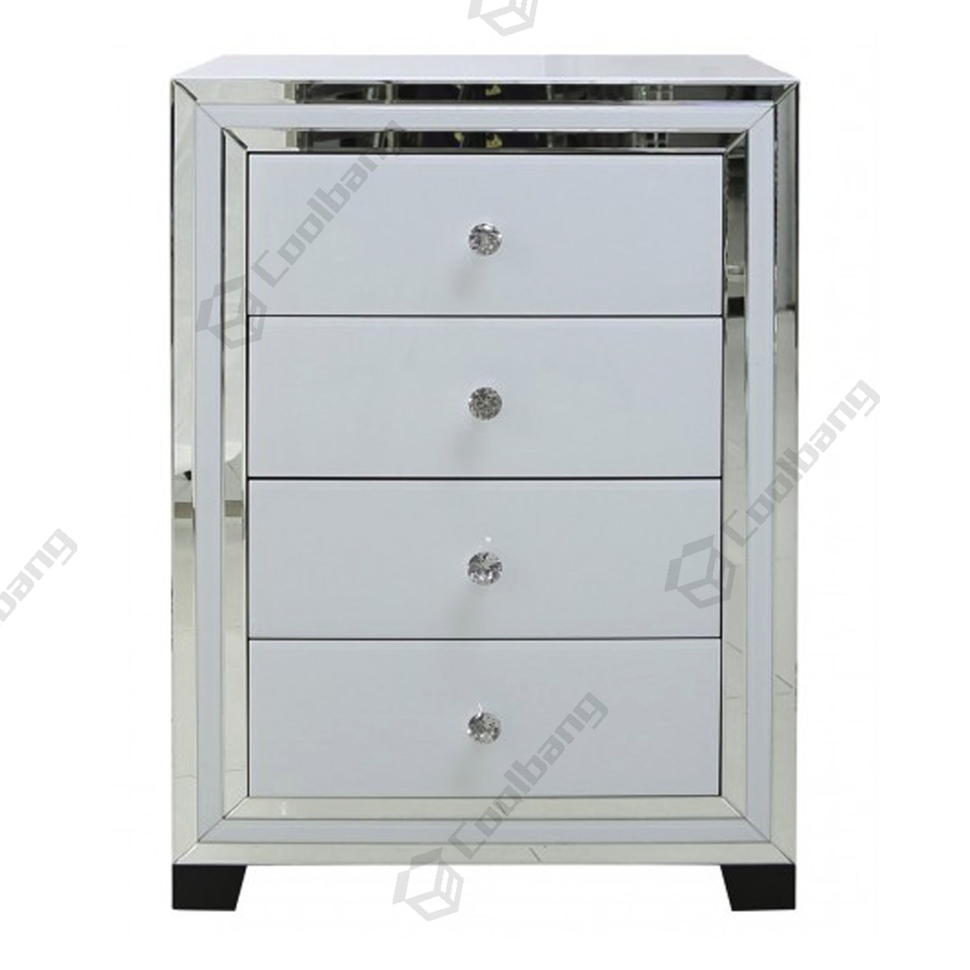 Home Bedroom White Glass Furniture 4 Drawers Mirrored Chest of Drawers