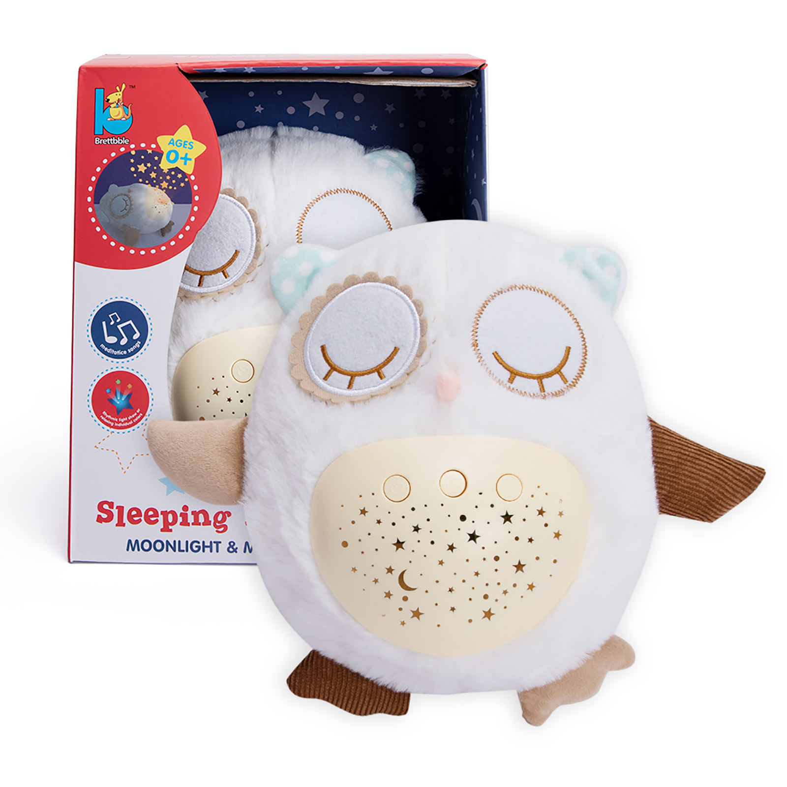 Plush Toys mit Night Light Star Projector und Music White Noise & Lullaby Sound Machine Baby Sleep Soother