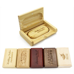 Wood Wooden Box USB 2.0/3.0 16GB 32GB 64GB Gift Thumb Drive Memory Stick Pendrive 4GB USB Flash Drive with Free Custom Logo