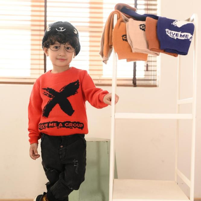 Fashion knitting patterns for kids sweaters X removable collar sweater boys children