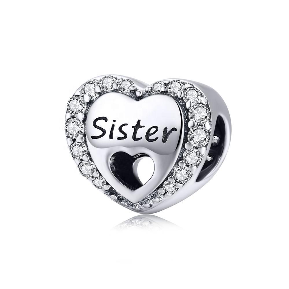 Hermana Corazón Plata Esterlina 925 encanto grano Feliz Cumpleaños