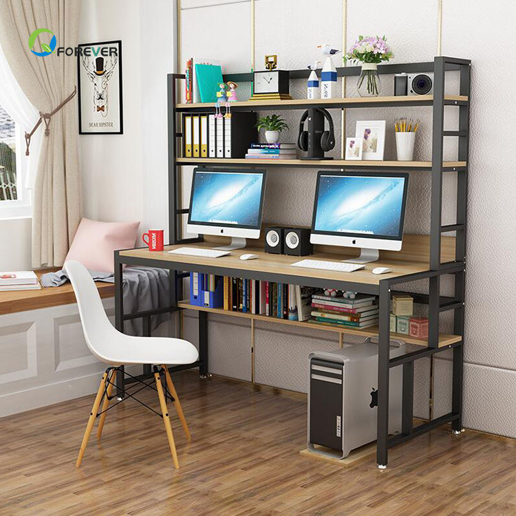 Economy Simple Computer Desk Simple Modern Double Desk With Bookshelf