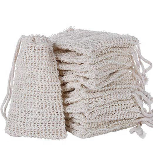 Soap exfoliating bag natural sisal fiber mesh soap drawstring bag
