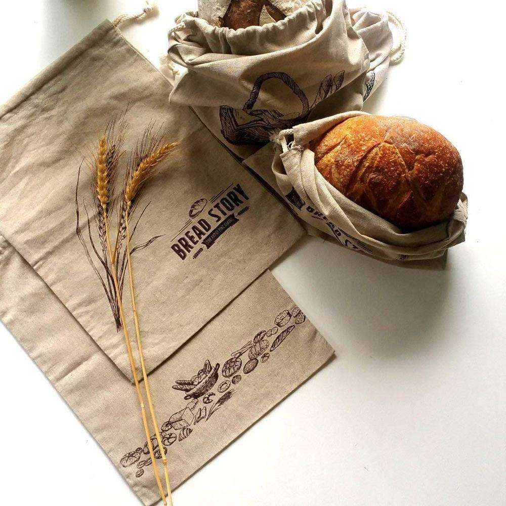Natural Linen Bread Bags Ideal for Homemade Bread Unbleached, Reusable Food Storage Housewarming Wedding