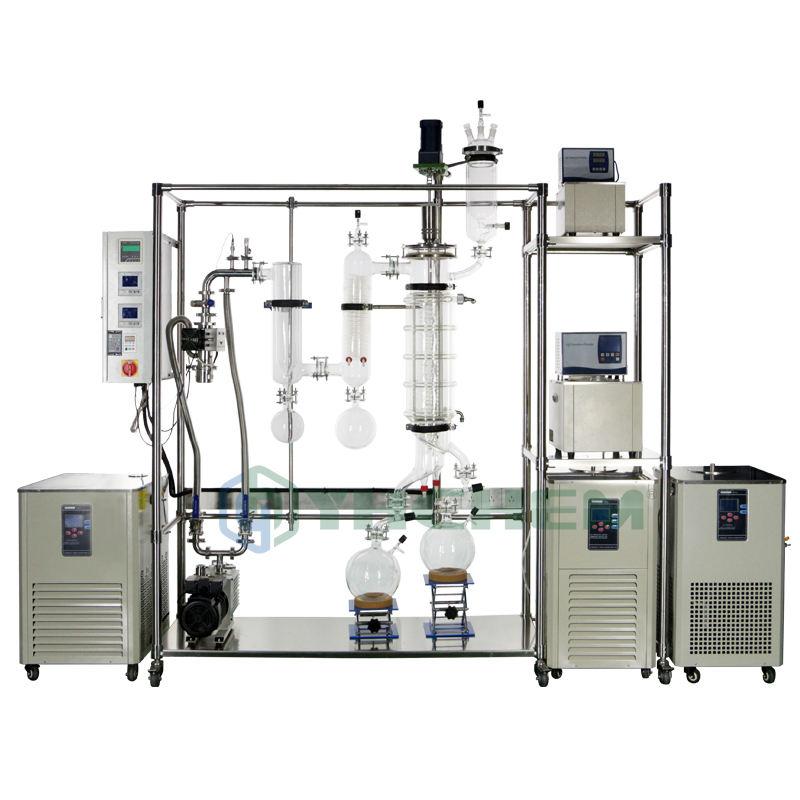 Sistema de destilación Molecular de trayectoria corta de 8 pulgadas a precio de fábrica YHCHEM con corto tiempo de residencia