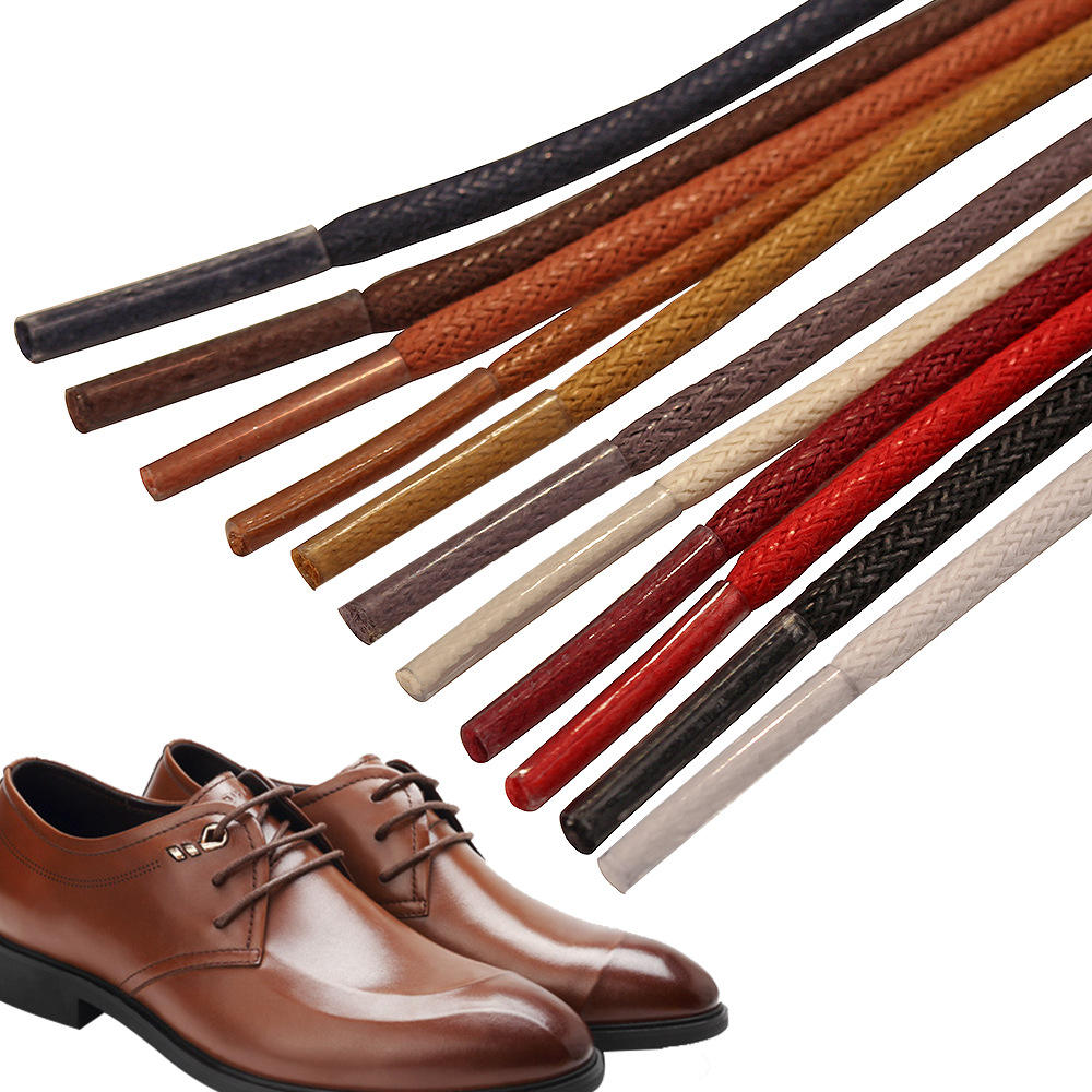 Youki custom fashion good quality round waxed shoe laces 3mm wide 0.5-2m length for leather shoes