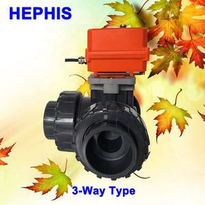 HEPHIS Free Shipping DN15-DN50 PVC PPH AC100-240V Control 3-way On/Off Signal Output Operated Automatic POWER MOTOR Ball Valve