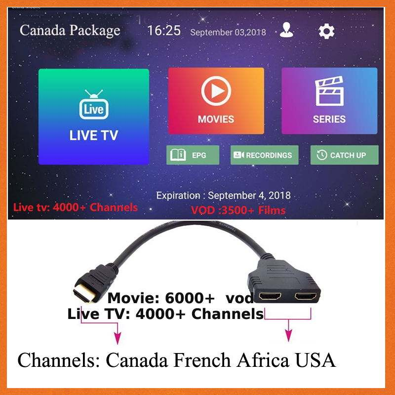 Video Kabel Canada Tv Usa Uk Franch Hd Spanje Netherland Hd 4000 + Live Tv 3000 +