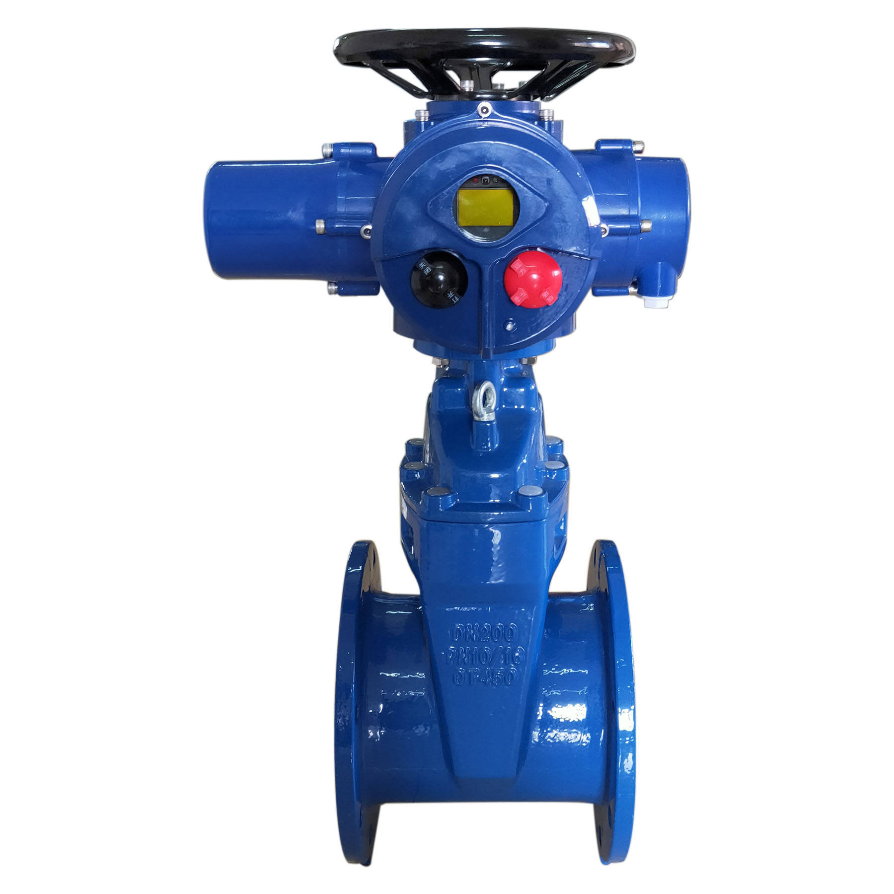 Intelligent remote control multi-turn electric actuator 380v 220v gate valve pn16 flange end ductile iron