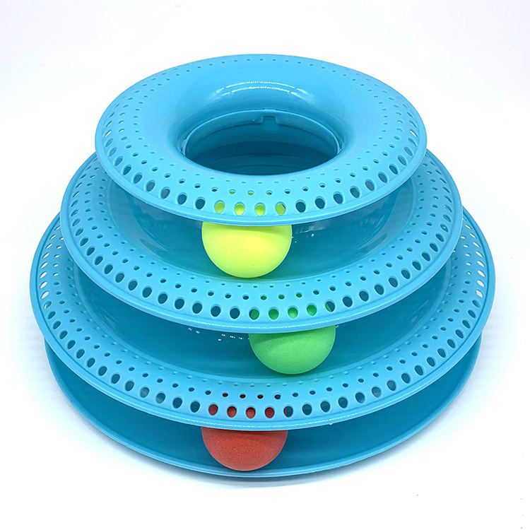 In Stock Three Levels Pet Toy Tower Tracks Intelligence Triple Pay Disc Cat Toys Ball Training Amusement Plate