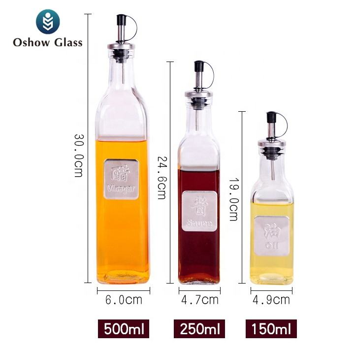 OSHOW Wholesale 150ml 250ml 500ml kitchen cooking olive oil glass bottle with metal nozzle