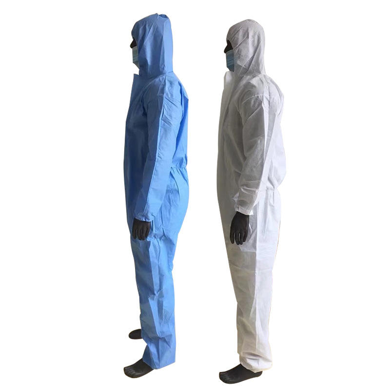 Newest Nonwoven Sms One Time Disposable Oil Resistant Water Proof Hoodies Isolation Gowns For Adults Civil Protective Clothing