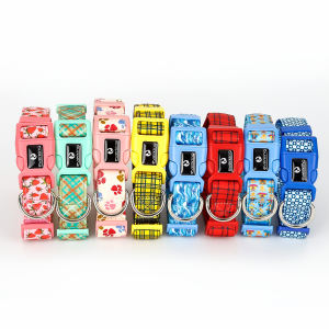 Valentine design 10 colors Soft & Comfortable Spring Pattern Adjustable Dog Collar