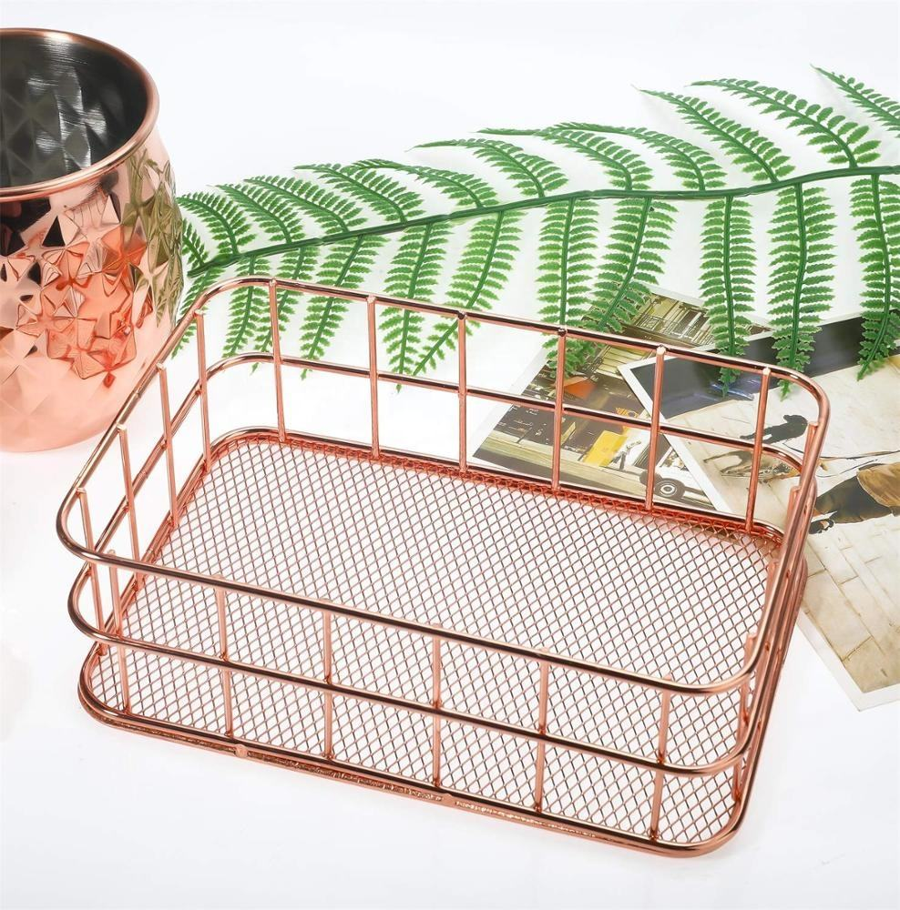 RTS 550-14B Nordic style rose gold wire mesh storage basket makeup brush organizer