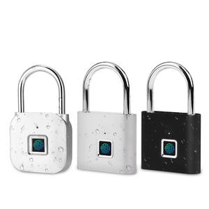 Smart fingerprint padlock keyless household cabinet luggage lock with USB charging data cable 10 fingerprint capacity