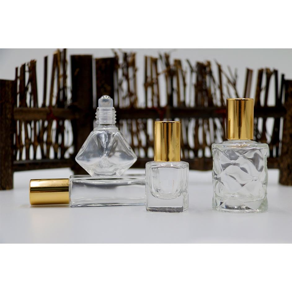 Polygon collection clear perfume roll on bottle essential oil glass roller bottle with steel ball and gold lid