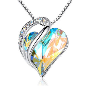 Amazon Hot Style Ocean Heart Simple Necklace With Crystal Pendant Collarbone Chain Necklace
