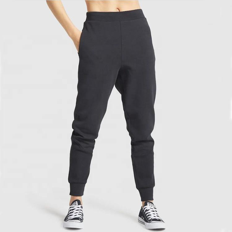 Trendy Activewear Plain Cotton Harem Black Joggers 2020 Women Stacked Sweatpants