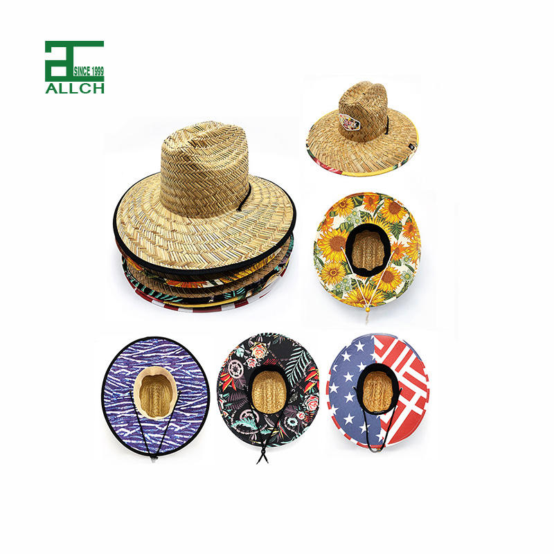 ALLCH Outdoor Mexican Summer Straw Material Rush Grass Hollow Straw Lifeguard Design Printing Woven Patch Beach Straw Hats