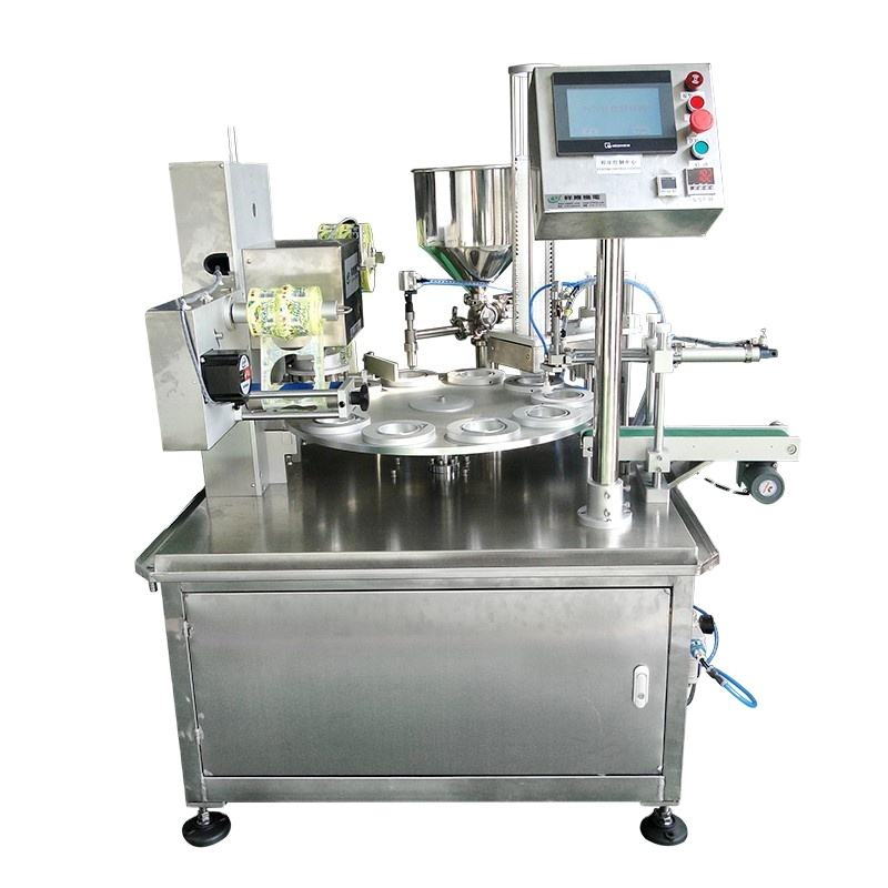 Fully Automatic Yogert Ice Cream Liquid Plastic Turntable Cup Filling Sealing Machine