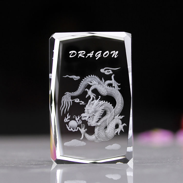 Hot sell crystal craft desk decoration Gift Dragon 3D Engraving Crystal Souvenir