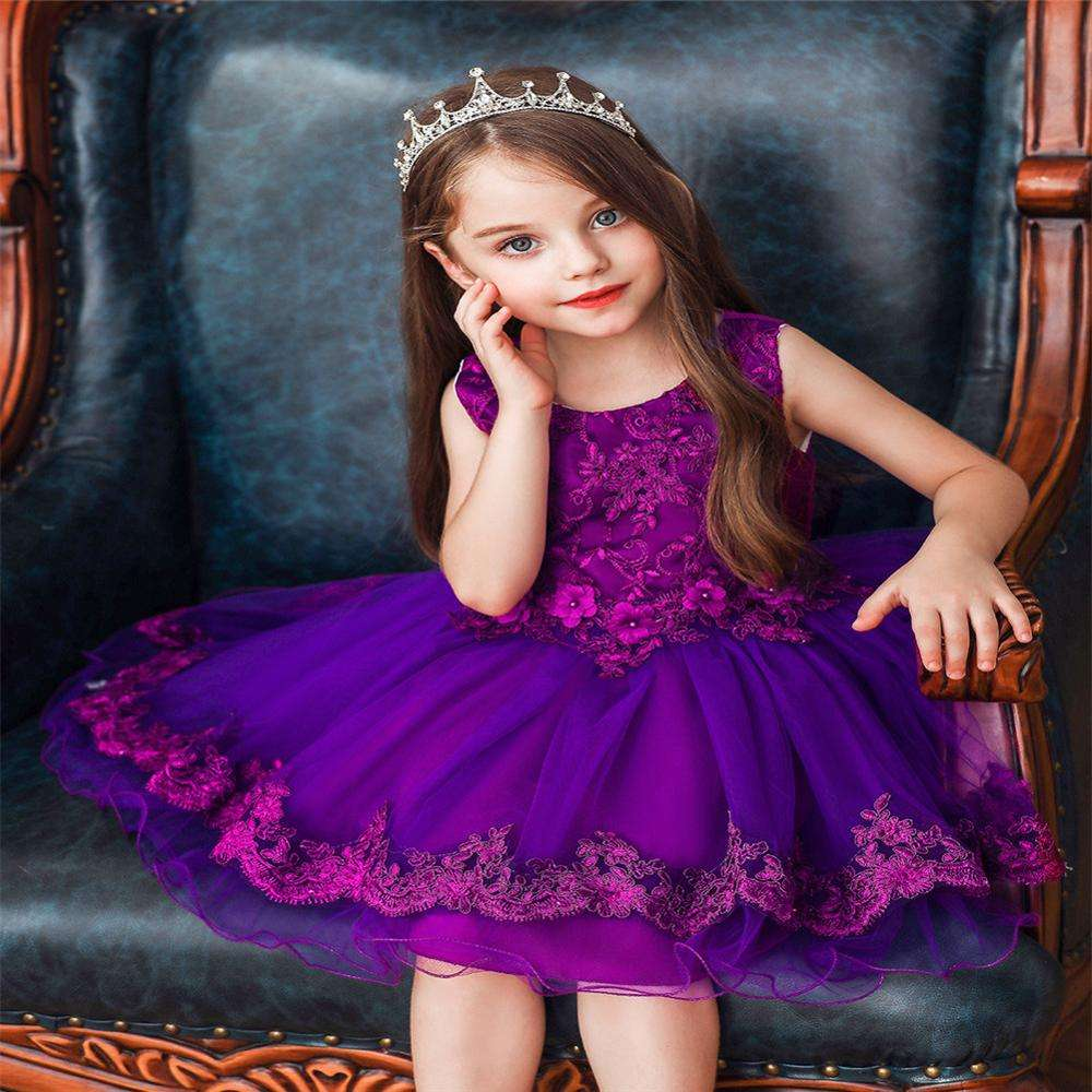 Red flower girl dress for 3 years old princess dress for Bridesmaid Children Fashion Ball Dress for party