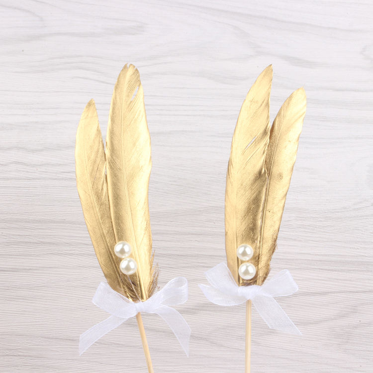 Creative Design Golden Feather Highlighted Imitation Pearl White Lace Bow Cake Decorating Set Tools